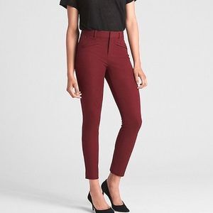 GAP signature SKINNY ANKLE WINE RED PANTS 00